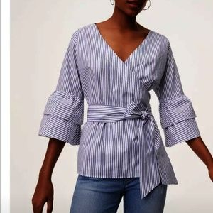 Cotton wrap blouse